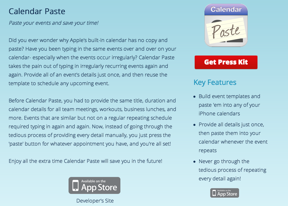 Calendar Paste press release at AppLaunch