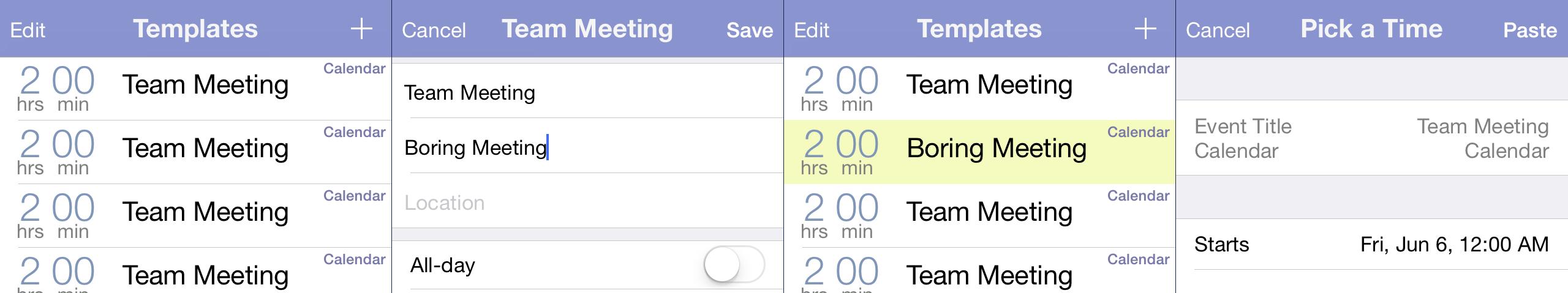 screenshots of the app