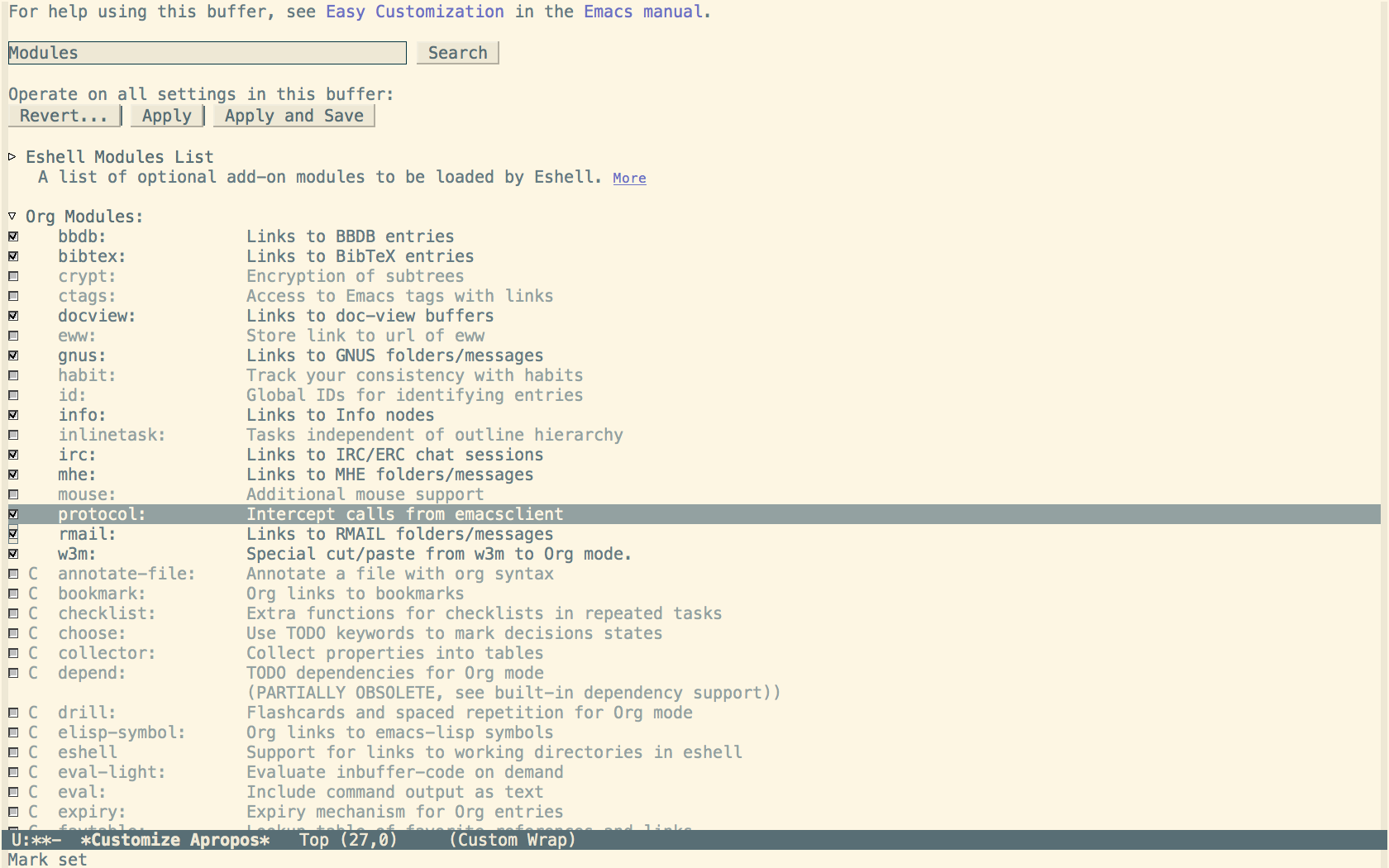Screenshot of Emacs Customize