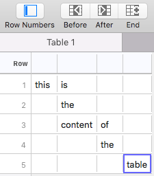 Rows in TableFlip